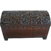 Carved Wooden Dome Top Trunk for Small Dolls or Display