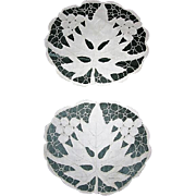 2 Linen Doilies with Leaf Design Openwork