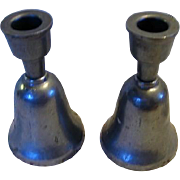 Vintage Pewter Type Duel Purpose Bell Candle Holders
