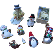 Vintage Snowman Collection 9 Different Snowmen