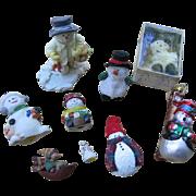 Vintage Snowman Collection 9 Different Snowmen