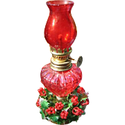 Pair of Vintage Miniature Lamps in Holiday Red