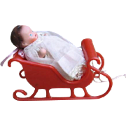 Miniature Jointed Bisque Doll in Santa's Sleigh