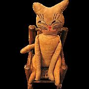 Vintage Primitive Quirky Cloth Cat Doll