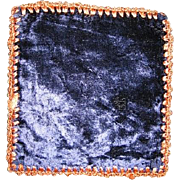 Velvet Navy Blue Square Rug or Mat