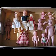 Vintage Dollhouse Dolls and Sleigh
