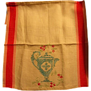 Vintage Kitchen Towel with Needlework Teapot