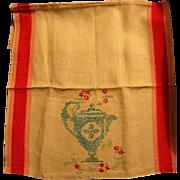Vintage Kitchen Towel with Needlework Teapot