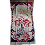 Old Fashion Scene Southern Belles and Gent Red White and Blue Towel