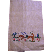 Man Cave Hunters Dream Buck and Doe Embroidered Hand Towel