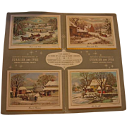 Salesman Sample Christmas Card Folder 1963 Currier & Ives