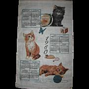 Vintage Calendar Towel 1980 with Kittens