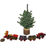 Miniature Christmas Tree and Wooden Train for Dollhouse or Display