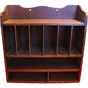 Old Wood Wall or Shelf Rack for Display with 9 Compartments