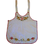 Vintage Hand Made Doll Apron with Embroidered Flowers