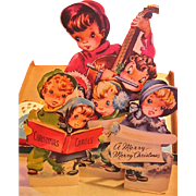 Adorable Vintage Fold Out Diecut Christmas Greeting Card with Kids