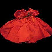 1950s Era Red Satin Doll Dress with Metallic Trim