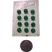 Tiny Green Glass Buttons from Austria