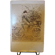 Dapper Dan on Bicycle Old Cabinete Photo from Manheim Pa.