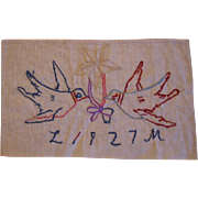 1927 Embroidered Missive of Love