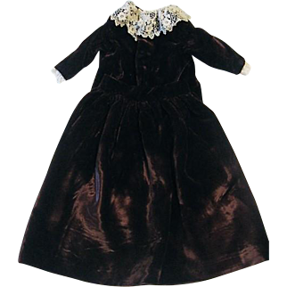 Antique Doll Outfit Velvet Skirt and Top with Lace