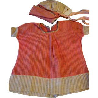 Pink Striped Dress and Matching Bonnet for Wide Body Composition Doll