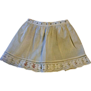 Adorable Apron with Cutwork Flowers for Child or Large Doll