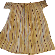 Tan and Burgundy Silk Doll Dress Early 1900s