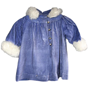 Lovely Lavender Brushed Velvet Childs Coat with Soft Trim