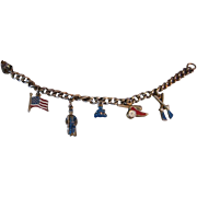 Vintage Patriotic Charm Bracelet Flag Soldier Cannon Rifles
