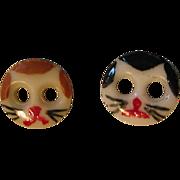 Vintage Ceramic Painted Cat Face Buttons