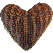 Antique Amish Made Heart Shaped Pin Cushion