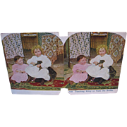 Victorian Stereoview Card Toddlers Teaching Kitty to Take the Bottle