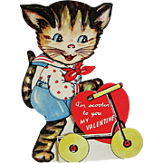 Kitty on Scooter Vintage Valentine