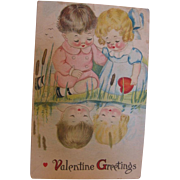 2 Kids Staring into Water Valentine Watercolor Look