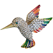 Vintage Enameled and Rhinestone Hummingbird Pin