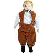 Antique Travel Size German Karl Standfuss Juno Boy Doll with Metal Head