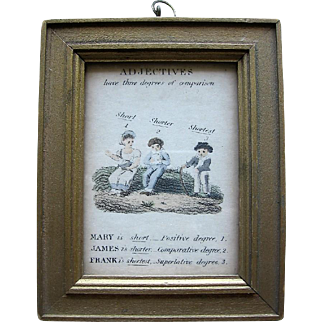 Small Educational Print with Victorian Kids Titled Adjectives