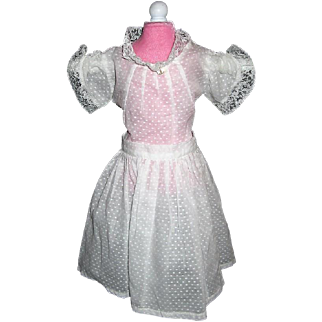 Vintage Dotted Swiss 2 Piece Doll Dress