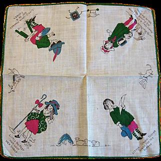 Vintage Childs Nursery Rhyme Hankie with 4 Favorites