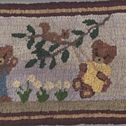 Hand Hooked Folk Art Bear Rug or Table Mat by Fay's Garret