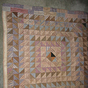 Antique Mennonite Made Crib Quilt Brown & Blue Check Fabrics