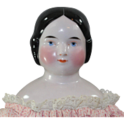 Early China Head Doll Covered Wagon Hairstyle c1850 Pink Tint