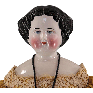 China Head Doll 1860 Unusual Face Gorgeous Silk Costume