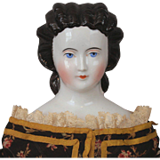China Lady Doll Unusual Hairstyle Snood Molded Comb