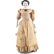 China Head Doll 1860 Unusual Face Original Body Orange Boots