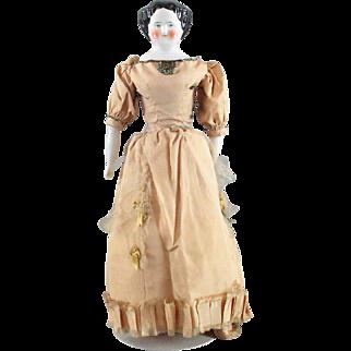 China Head Doll 1860 Unusual Face Original Body Orange Boots