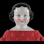 Antique China Head Lady Doll c1860s Pink Tint Original Body