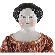 Antique China Head Lady Doll c1860s Choice Quality Gorgeous Eyes