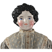 "Dolley Madison China Head Doll Pink Tint Unusual 30"" Size"